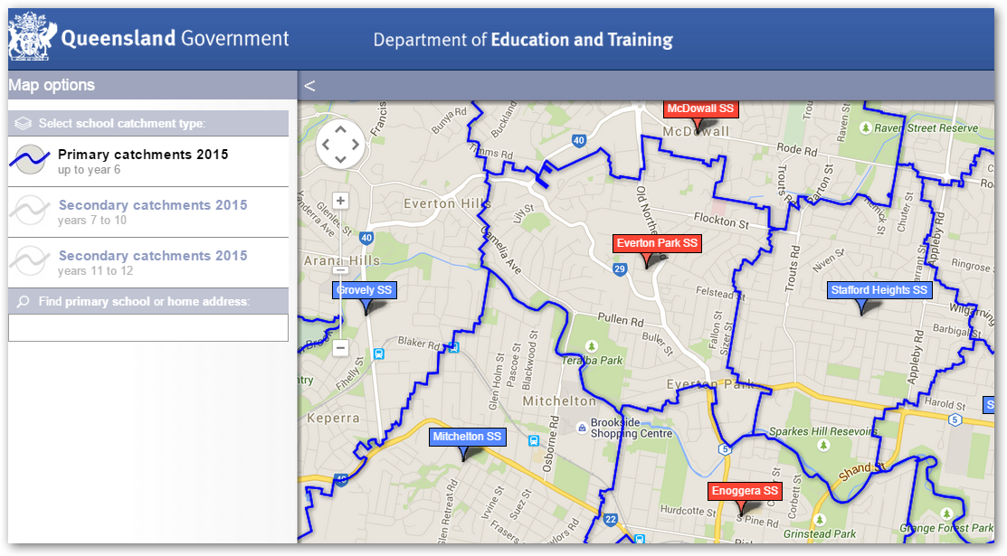 Brisbane Public school Catchment area