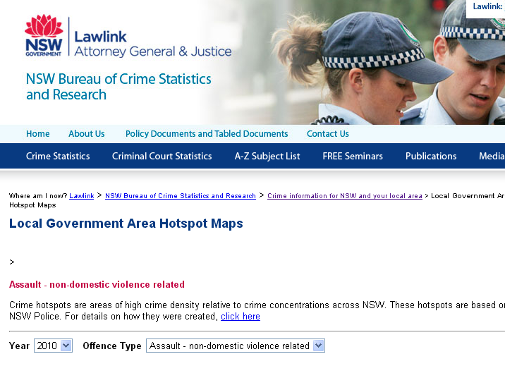 NSW crime hot spot map